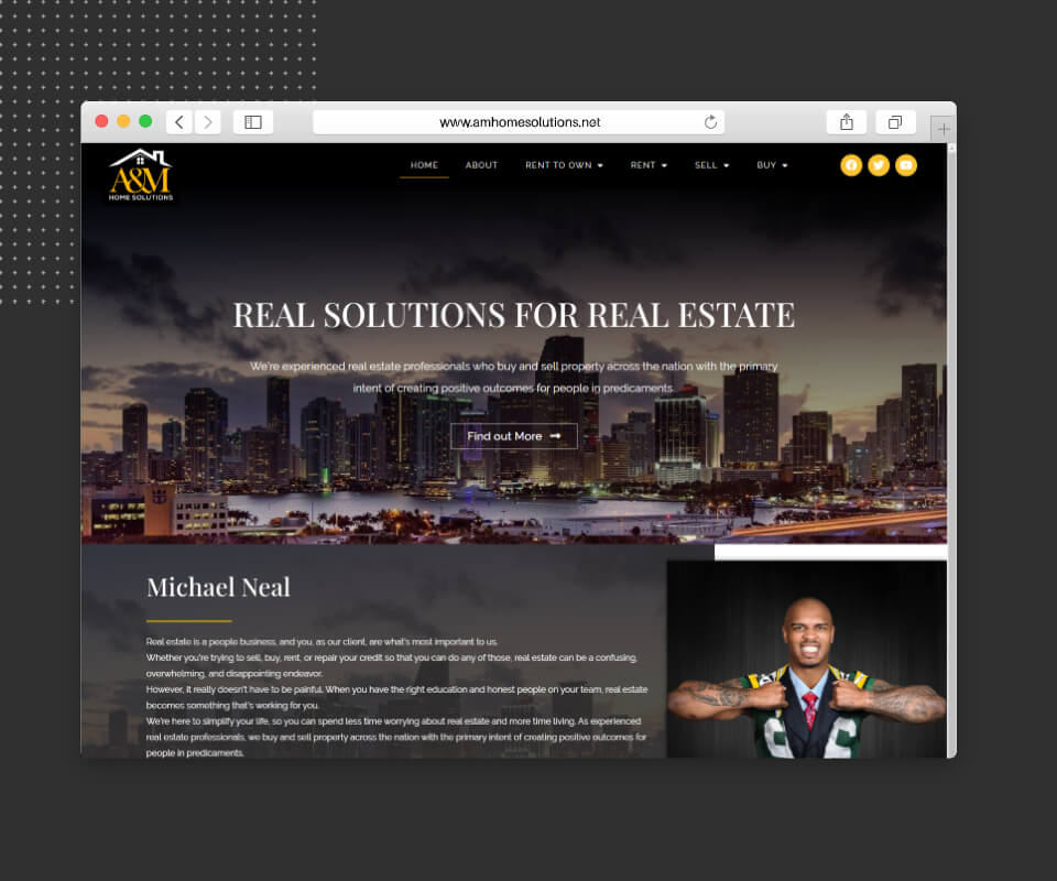 Real estate website mockup