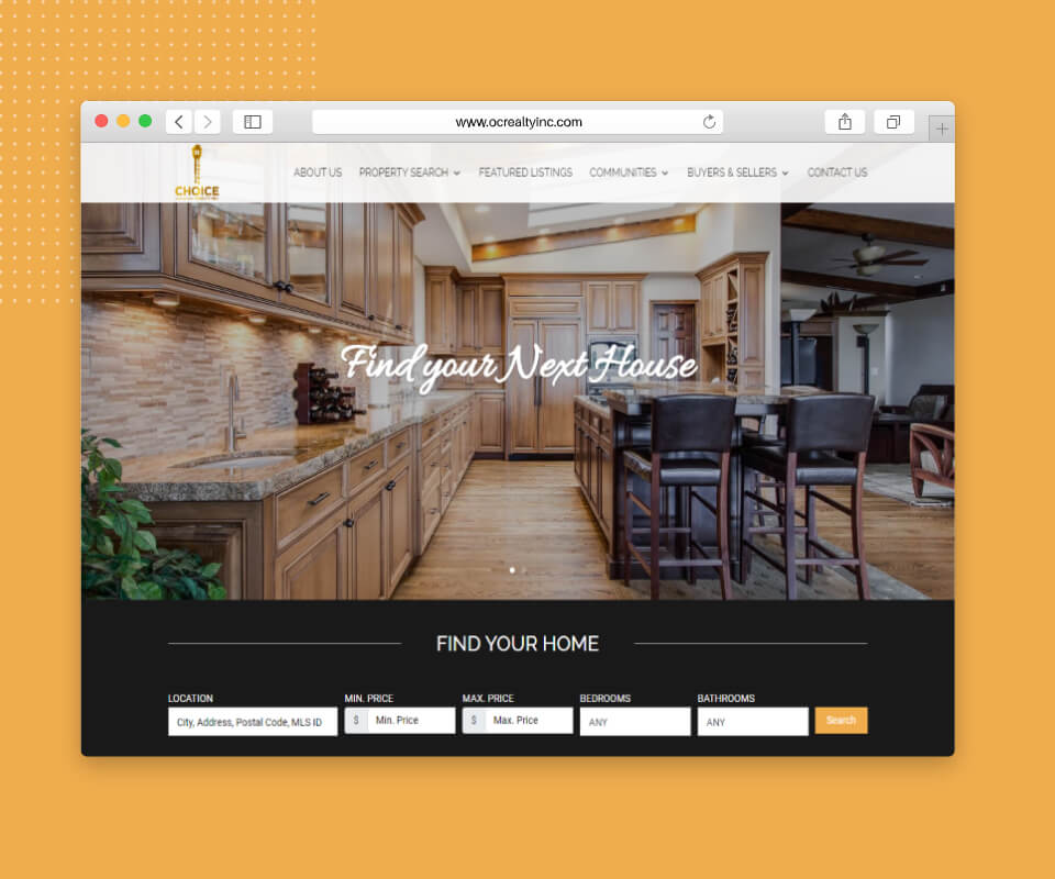 Browser home mockup